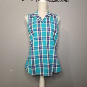 Eddie Bauer Blue Plaid Sleeveless Top, Sz L